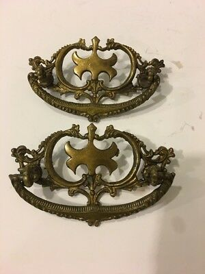 Set of Two Antique Brass Pulls drawer Drop Bail Pull handle