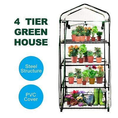 4 Tiers Greenhouse Plant PVC Cover Garden Storage Steel Frame Shelve Hot House