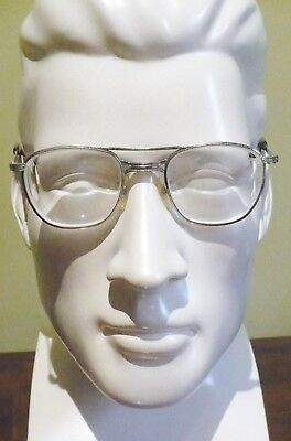 Vintage '70's Safety Eyeglasses-Silver Wire–W (Welding?) AO 5 ½ /4, AO 20-Worn2X