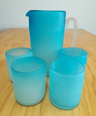 BRAND NEW Blue Frosted Glass Water Jug and Glasses