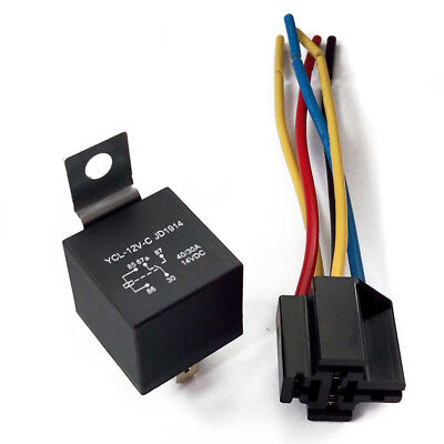 1X DC 12V Car SPDT Automotive Relay 5 Pin 5 Wires w/Harness Socket 30/40 Amp Acc