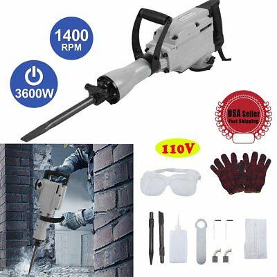 3600W Construction Demolition Hammer Electric Concrete Breaker 2 Chisel Bit EX