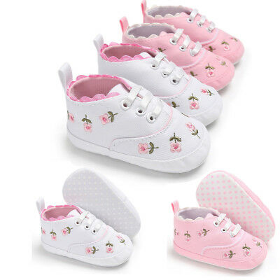 Newborn Infant Baby Girl Floral Crib Shoes Soft Sole Anti-slip Sneakers Canvas W
