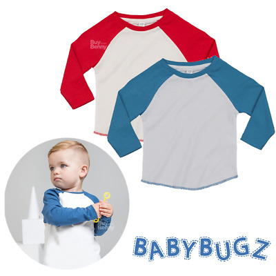 Baby Superstar Baseball T-Shirt Long Contrast Sleeves Top 100% Organic Cotton