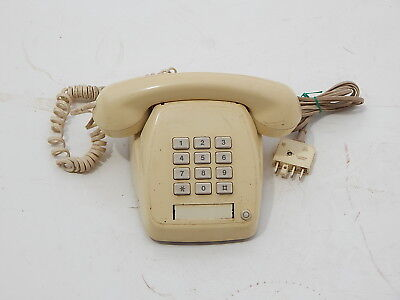 Telephone vintage old antique cream corded phone- working