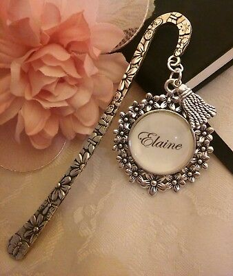 BOOKMARK book mark PERSONALISED flower charm gift present