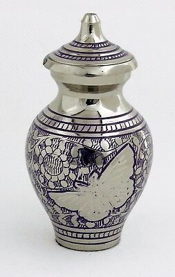 Mini Cremation Urn For Ashes,  Small Purple Butterfly Funeral Memorial Keepsake