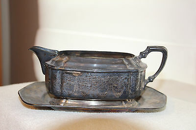 Antique silverplate gravy, sauce boat, Windmill-Mulholland Bros. Etched design.