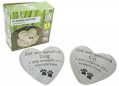 Heart Shaped Pet Memorial Plaque Memory raised heavy  Stone - Dog or Cat