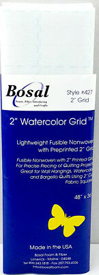 """NEW Bosal 3504-01   Water Colour Light Fusible Non-Woven with 2"""" Grid   120x90cm"""