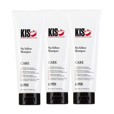(€5,20/100ml) KIS No-Yellow Shampoo für graues & blondes Haar 3x250ml  █▬█ █ ▀█▀