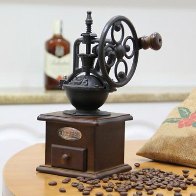 Vintage Manual Coffee Grinder Wheel Design Coffee Bean Mill Grinding LS