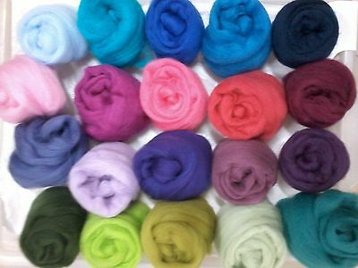 Merino Woolly Delight 'Multi' Pack dyed Wool Top Roving 22 Micron..Spin Felt,