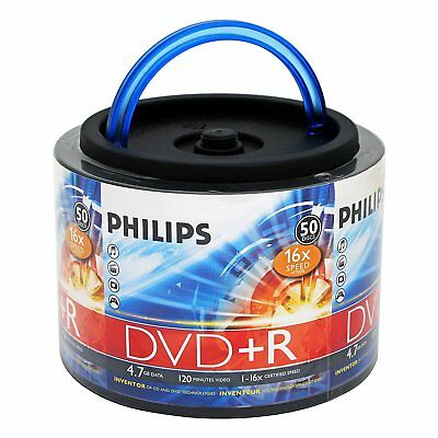 50-pk Philips branded 16x DVD+R Blank Recordable 4.7GB Media Disk DR4S6H50F/17