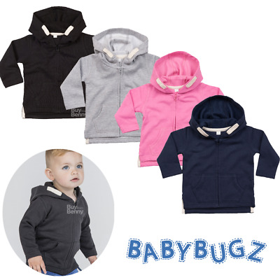 Baby Hoodie Brushed Fleece Zipped Sweatshirt Boys Girls Kangaroo Pocket Sizes