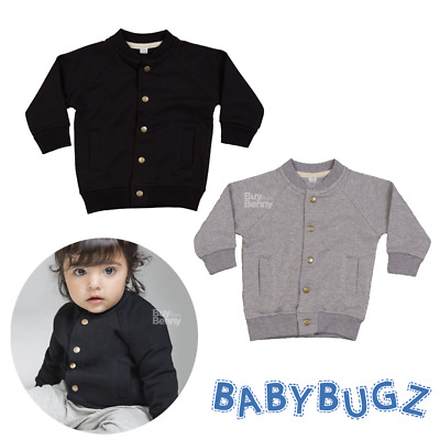 Baby Bomber Jacket Soft Jumper Buttoned Raglan Sleeves Smart Boy Girl Fashion