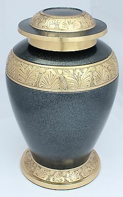 """Cremation Urn for ashes, child/young adult Funeral Memorial, grey/gold 8"""" medium"""