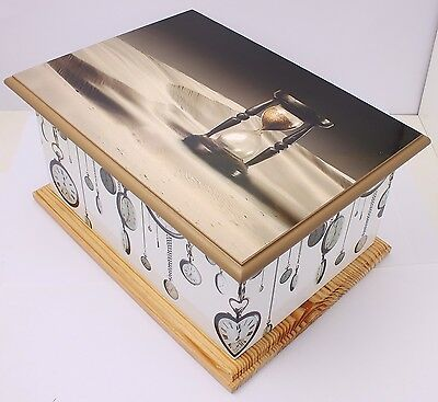 Large Cremation urn for ashes Adult Funeral Memorial MDF wood casket hourglass