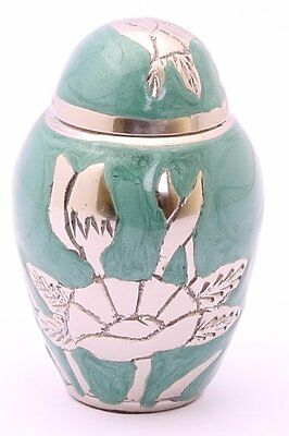 Mini Keepsake Ashes Urn Small Cremation Urn Funeral Memorial Green Gold Flower