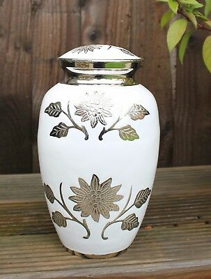 Adult Cremation Urn For Ashes Large Memorial Ash Container White And Silver