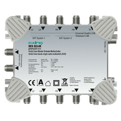 Axing SES 522-06 Unicable II / 2 Multischalter   1/2 LNB   2x2 Receiver/Teiln.