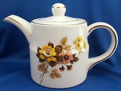 Wood and Sons Ellgreave Tea Pot Cream Ironstone w Yellow and Pink Flowers 6""