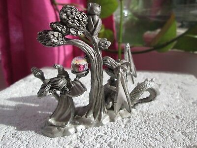 Spoontiques Pewter Dragon Wizard Owl Crystal Ball And Ruby Red Eye Figurine
