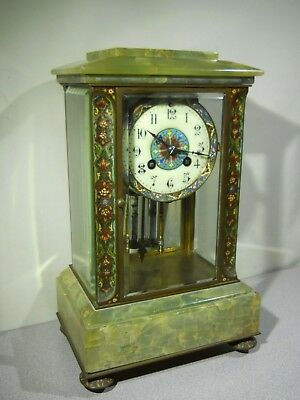 Antique - L. Brocot - French Cloisonne & Green Onyx Mantle Clock - Working