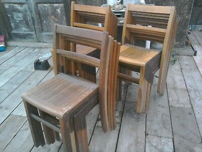 Vintage KINGFISHER College, Church, Stacking Chairs 29 In Total