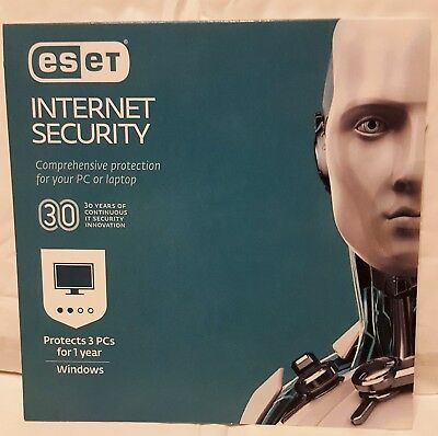 ESET Internet Security 2019-3 Pcs 1 Yr Antivirus & Security Windows 10 [PC-Card]