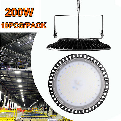 10X 200W Ultra-Thin UFO LED High Bay Light Factory Industrial Commercial Lamp