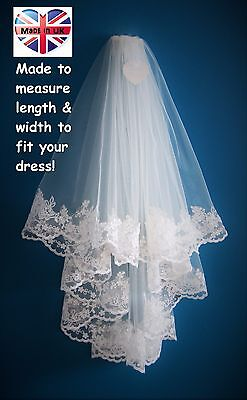 Wedding Veil *Fingertip Length*2 Tier*Wide Lace H* Ivory*Made to Order*