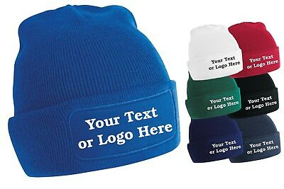 Personalised Printed Beanie Hat Pullover Custom Wooley Hat Unisex PB Mens Ladies
