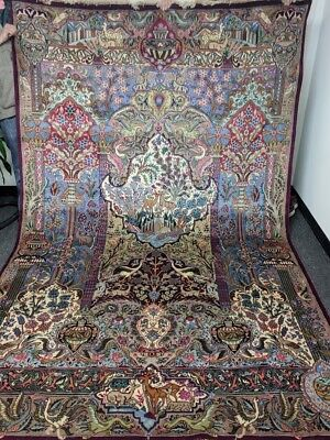 Antique Hand-Knotted Persian Rug Kashmar 7' x 10' VIVID COLORS - PERFECT COND.