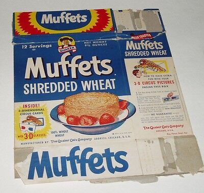 1950's Muffets Cereal Box w/ 3D Circus Animal Trading Card offer