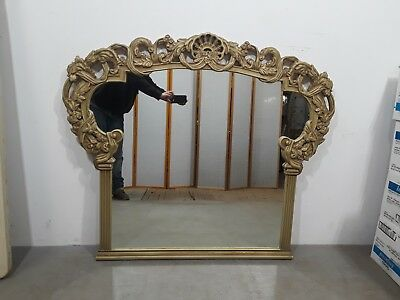 Vintage French Provincial Heavily Carved Mirror w/ Shell & Floral Top