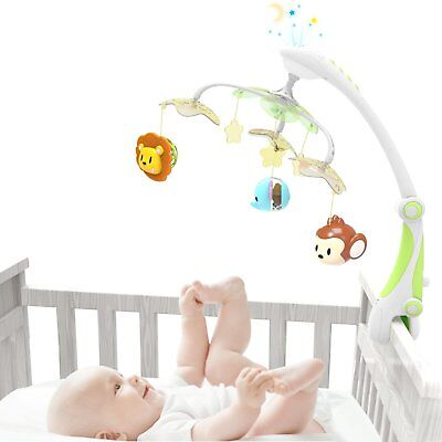 Baby Crib Mobile Star Projector Nursery Function with Foldable Arm & 30 Melodies