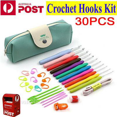 30pcs Crochet Hooks Kit Yarn Knitting Needles Sewing Tool Grip Hook Set With Bag