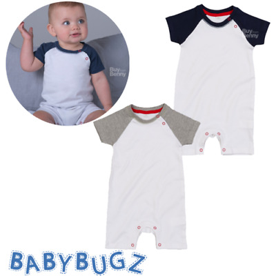Baby Baseball Playsuit Short Raglan Sleeve Stretchy 100% Soft Organic Cotton Top