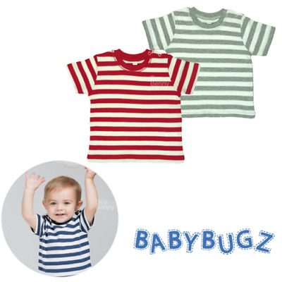 Baby Stripy T-Shirt 100% Soft Cotton Tee Top Comfort Boys Girls Colours Sizes