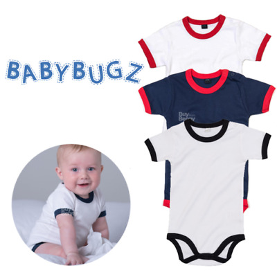 Baby Ringer Bodysuit Contrast Neck Short Sleeve Romper 100% Soft Cotton Boy Girl