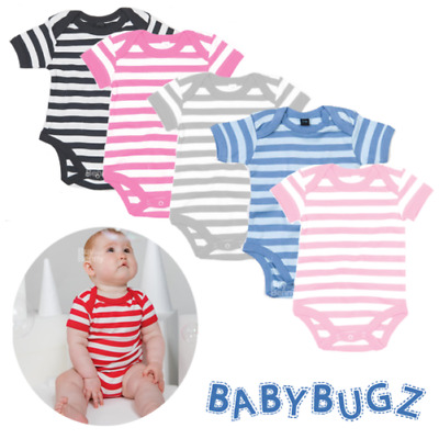 Baby Stripy Bodysuit Short Sleeve Newborn Boy Girl Romper 100% Soft Cotton New