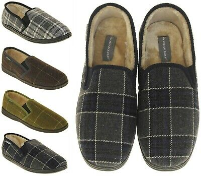 Mens Dunlop Faux Fur Lined Twin Gusset Outdoor Sole Slippers Size 7 8 9 10 11 12