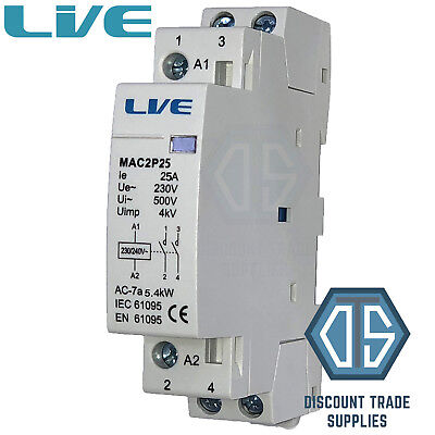 25 Amp 2 Pole Contactor AC 5.4kW Normally Open DIN Rail Mount Heating Lighting