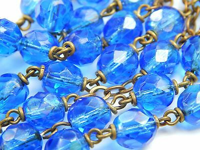 Vintage 60s Cobalt Blue Glass Crystal Bead Blessed Mother Italy Rosary 22""