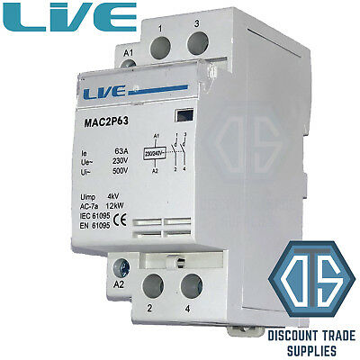 63 Amp 2 Pole Contactor AC 12kW Normally Open DIN Rail Mount Heating Lighting