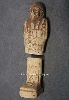 Authentic Ancient Egyptian white faience Shabti Ushabti Hieroglyphic Inscription