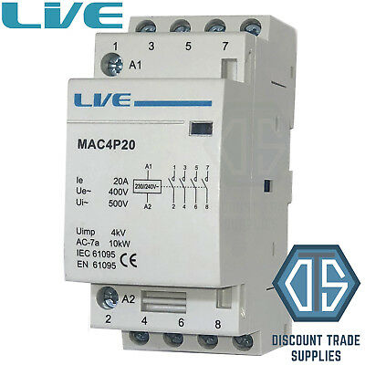 20 Amp 4 Pole Contactor AC 10kW Normally Open DIN Rail Mount Heating Lighting