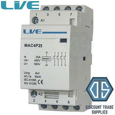 25 Amp 4 Pole Contactor AC 16kW Normally Open DIN Rail Mount Heating Lighting