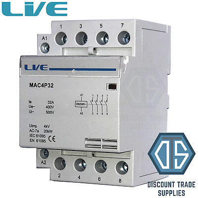 32 Amp 4 Pole AC-7a Contactor 20kW Normally Open DIN Rail Mount Heating Lighting